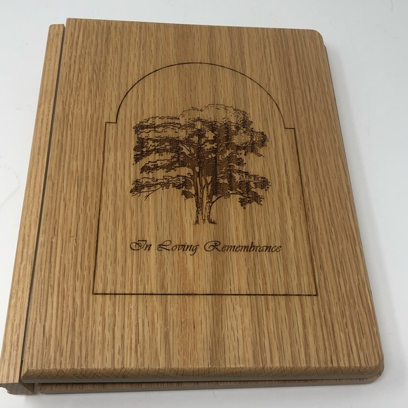 "10"" Wood Cut Remembrance Binder Funeral guestbook"